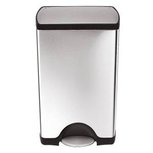 """simplehuman Rectangular Metal Step Trash Can, 10 Gallons, 25-3/4""""H x 15-12/16""""H x 12-1/2""""D, Brushed Stainless Steel"""