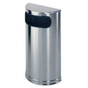"""United Receptacle Side-Opening Half-Round Steel Trash Receptacle, 9 Gallons, 32""""H x 18""""W x 9""""D, 30% Recycled, Stainless Steel"""