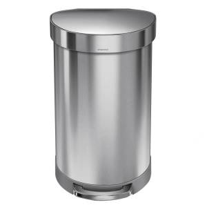 simplehuman Semiround Stainless Steel Liner Rim Step Can, 12 Gallons, Brushed Stainless Steel