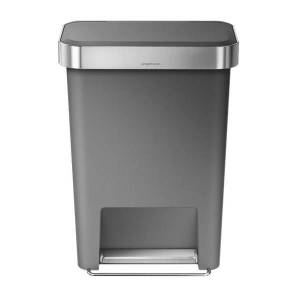 """simplehuman Rectangular Plastic Step Trash Can With Liner Pocket, 12 Gallons, 25""""H x 18-1/2""""W x 12-3/5""""D, Gray"""