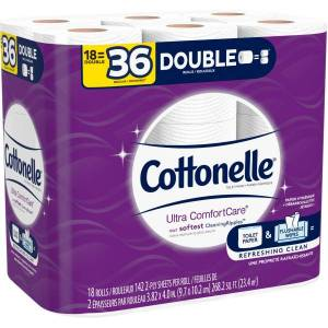 Cottonelle Ultra ComfortCare Toilet Paper - Double Rolls - 2 Ply - 142 Sheets/Roll - White - Sewer-safe, Septic Safe, Flushable, Absorbent - For Home,