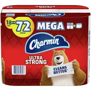 Charmin Ultra Strong 2-Ply Mega-Roll Toilet Paper, 286 Sheets Per Roll, Pack Of 18 Rolls