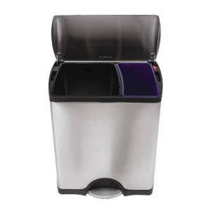 simplehuman Rectangular Dual-Compartment Step Recycler Trash Can, 12.15 Gallons, Brushed Stainless Steel