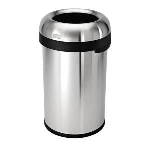 simplehuman Bullet Open Trash Can, 21 Gallons, Brushed Stainless Steel