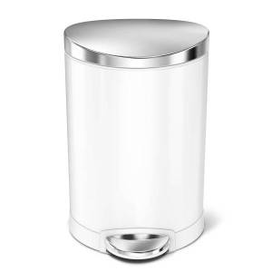 simplehuman Semi-Round Steel Step Trash Can, 1.6 Gallons, White With Stainless Steel Lid