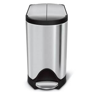 """simplehuman Butterfly Step Rectangular Stainless-Steel Trash Can, 2.64 Gallons, 13-3/4""""H x 7-3/4""""W x 15-5/8""""D, Brushed Stainless Steel"""