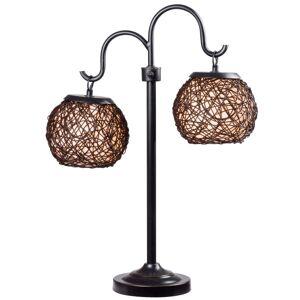 "Kenroy Home Kenroy Castillo Outdoor Table Lamp, 29""H, Cream Shade/Bronze Base"