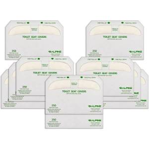 Alpine Half-Fold Flushable Toilet Seat Covers, White, 250 Covers Per Pack, Case Of 20 Packs