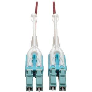 Tripp Lite 3M 10 Gb Duplex Multimode 50/125 OM4 LSZH Fiber Patch Cable (LC/LC), Push/Pull Tabs, Magenta, 3 m (10 ft.) - Patch cable - LC multi-mode (M