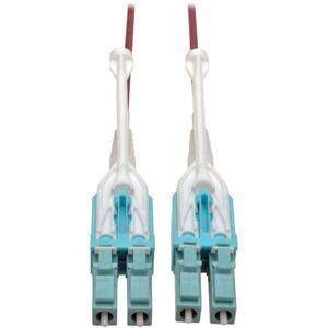 Tripp Lite 10 Gb Duplex Multimode 50/125 OM4 LSZH Fiber Patch Cable (LC/LC), Push/Pull Tabs, Magenta, 10 m (33 ft.)