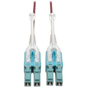 Tripp Lite 10 Gb Duplex Multimode 50/125 OM4 LSZH Fiber Patch Cable (LC/LC), Push/Pull Tabs, Magenta, 8 m (26 ft.) - Patch cable - LC multi-mode (M) t