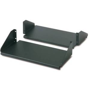 Schneider Electric Double Sided Fixed Shelf for 2-Post Rack 250 lbs Black - Rack-mountable - Black - 250.53 lb Static/Stationary Weight Capacity