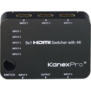 KanexPro 5x1 HDMI Switcher with 4K Support - TV, Blu-ray Disc Player, Xbox, Projector, Home Theater, STB, PlayStation 3, DVD Player, PlayStation 4 Com