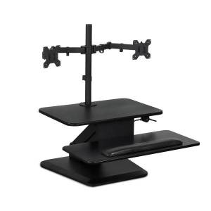 """Mount-It! MI-7914 Sit-Stand Standing Desk Converter With Dual Monitor Mount Combo, 22""""H x 31""""W x 21""""D, Black"""