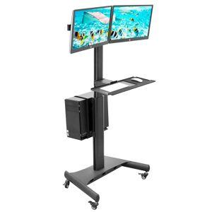 """Mount-It MI-7986 Adjustable Mobile PC Workstation For Dual Monitors, 45""""H x 28-1/2""""W x 8""""D, Black"""