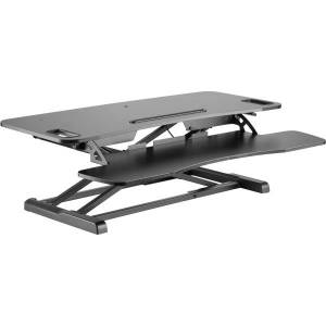 """Amer Mounts Sit/Stand 37.4"""" Height Adjust Desk - EZRiser36 Height Adjustable Sit/Stand Desk Computer Riser, Dual Monitor Capable, 37.4"""" wide with Keyb"""