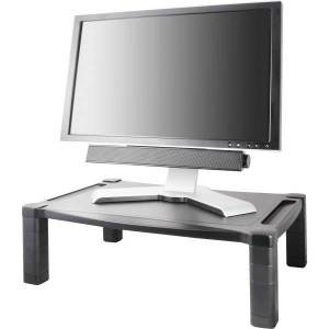 "Kantek Extra Wide Adjustable Monitor Laptop Stand 20inx13in Single - 60 lb Load Capacity - 1 x Shelf(ves)20"" Width - Desktop - Plastic - Black"