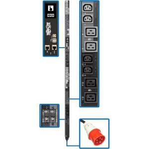Tripp Lite 17.3kW 3-Phase Switched PDU - 12 C13 & 12 C19 Outlets, IEC 309 30A Red, 0U, Outlet Monitoring, TAA - Power distribution unit (rack-mountabl