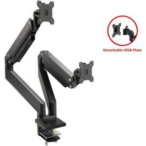 "SIIG Dual Monitor Heavy-Duty Premium Aluminum Gas Spring Desk Mount - 17"" to 35"" - Desk mount for 2 LCD displays (full-motion adjustable dual arm) - p"