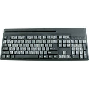 Wasp WKB1155 POS Keyboard - QWERTY Layout - Magnetic Stripe Reader - USB - Black, Gray
