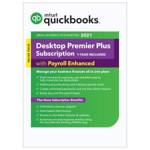 QuickBooks Intuit QuickBooks Desktop Premier Plus with Enhanced Payroll 2021, For 1 User, Windows, Download
