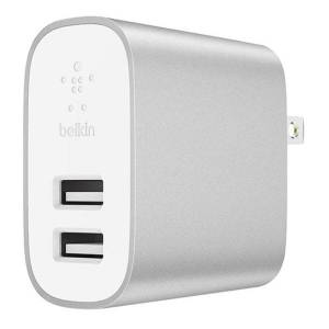 Belkin Boost Charge 2-Port USB Home Charger, Silver, F7U049DQSLV