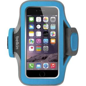 Belkin Slim-Fit Plus Carrying Case (Armband) iPhone 6, Cable - Topaz - Neoprene, Fabric - Armband