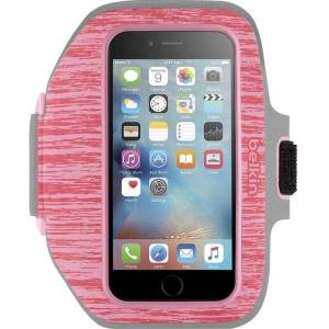 Belkin Sport-Fit Plus Carrying Case (Armband) iPhone 6, iPhone 6S - Pink, Gray - Neoprene, Fabric - Armband