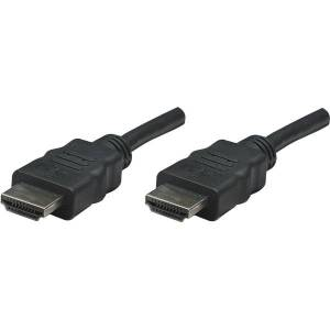 Manhattan HDMI Male to Male High Speed Shielded Cable, 25', Black - Supports HDMI Ethernet Channel, Audio Return Channel, 3D Video, 4K Display and Dee