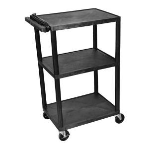 "Luxor Multimedia 3-Shelf Presentation Cart, 41 1/2""H x 24""W x 18""D, Black"