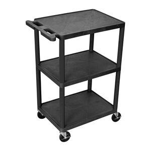 "Luxor 3-Shelf Cart, 41""H x 24""W x 18""D, Black"
