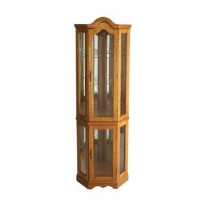 Southern Enterprises Lighted Corner Curio Cabinet, Golden Oak