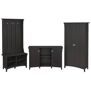 Bush Furniture Salinas Entryway Storage Set With Hall Tree, Shoe Bench And Accent Cabinets, Vintage Black, Standard Delivery