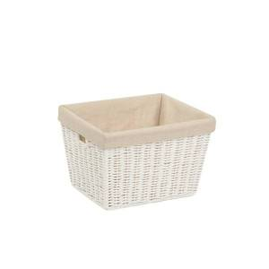 Honey Can Do Honey-Can-Do Paper Rope Storage Tote With Liner, Medium Size, White
