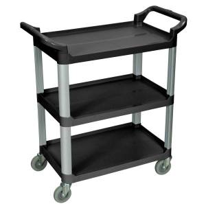 """Luxor 3-Shelf Serving Cart, 36 3/4""""H x 33 1/2""""W x 16 3/4""""D, Black"""