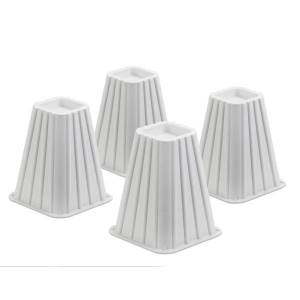 """Honey Can Do Honey-Can-Do Bed Risers, 7 1/4"""", White, Set Of 4"""