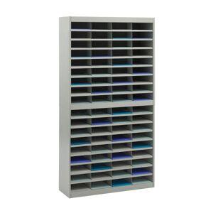 """Safco E-Z Stor Steel Literature Organizer, 72 Compartments, 71""""H, Gray"""