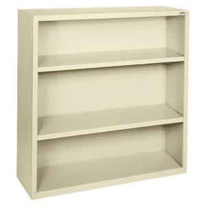 Lorell Fortress Series Steel Bookcase, 3-Shelf, Putty