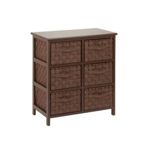 """HONEY-CAN-DO INTERNATIONAL, LLC Honey-can-do TBL-03758 Woven Strap 6 Drawer Chest with Wooden Frame - 21.5"""" x 12"""" x 24"""" - 6 x Drawer(s) - Java Brown - Wood, Natural Wood, Fabric"""
