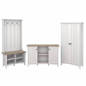 Bush Furniture Salinas Entryway Hall Tree/Shoe Storage Bench, Accent Storage Cabinet, and Tall Storage Cabinet, Shiplap Gray/Pure White, Standard Deli