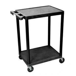 "Luxor 2-Shelf Plastic Utility Cart, 33 1/2""H x 24""W x 18""D, Black"