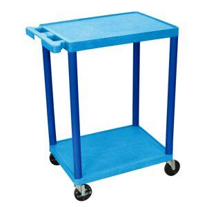 "Luxor 2-Shelf Plastic Utility Cart, 33 1/2""H x 24""W x 18""D, Blue"
