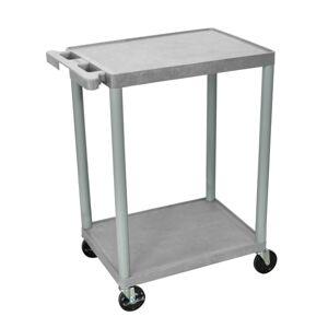 "Luxor 2-Shelf Plastic Utility Cart, 33 1/2""H x 24""W x 18""D, Gray"