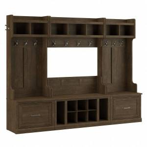 kathy ireland Home by Bush Furniture Woodland Full Entryway Storage Set With Coat Rack And Shoe Bench With Drawers, Ash Brown, Standard Delivery