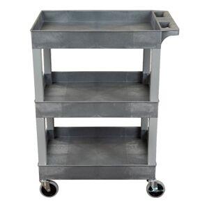 "Luxor 3-Shelf Plastic Utility Cart, 36-1/4""H x 24""W x 18""D, Gray"