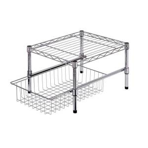 """Honey Can Do Honey-Can-Do Adjustable Cabinet Organizer With Shelf And Basket, 11""""H x 14 3/4""""W x 17 3/4""""D, Chrome"""