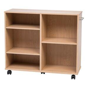 IRIS Deep Wooden Rolling Shelf, Light Brown