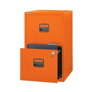 """Bisley 14-13/16""""D Vertical 2-Drawer Under-Desk Storage Cabinet, Metal, Orange"""