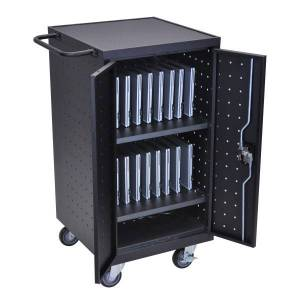 "Luxor 18-Device 2-Shelf Charging Cart, 39""H x 25""W x 16""D, Black"