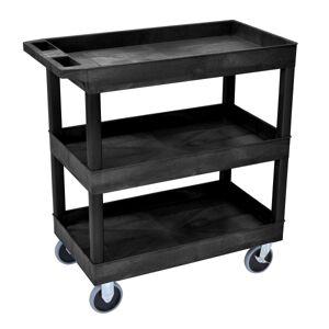 """Luxor E-Series 3-Shelf Tub Cart, 37 1/4""""H x 32""""W x 18""""D, Black"""